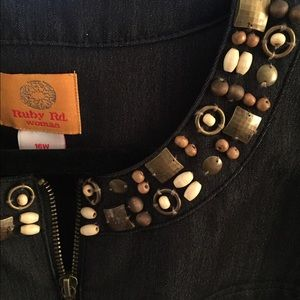 Jackets & Coats - Black denim jacket with bead detailing