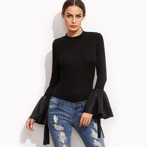 Tops - Black Satin Bell Sleeve Stretch Top D19