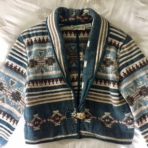 Vintage Aztec Tapestry Cropped Jacket