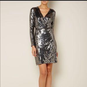 Michael Kors Silver Sequin Wrap Dress