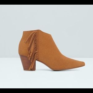 MANGO Leather fringe ankle booties