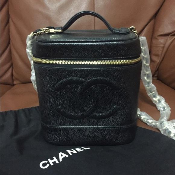 CHANEL Handbags - Chanel black caviar vanity case 9a8b2fae3d6b3
