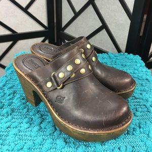 Born Shoes - Born Brown Platform Leather Clogs NWT