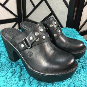 Born Shoes - Born Platform Black Leather Clogs NWT