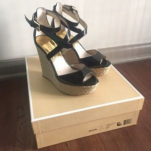 Michael Kors Black Patent Wedges