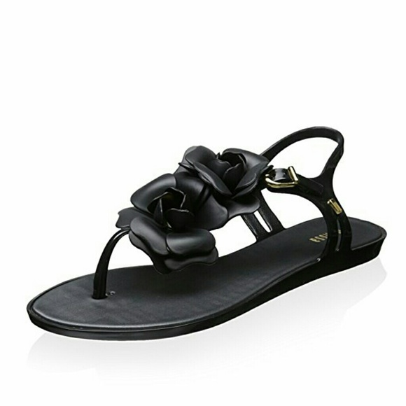 28c97280b2d730 Melissa Black Flower Sandals 6 - New. M 58dfd4f1bcd4a7905a00b46f