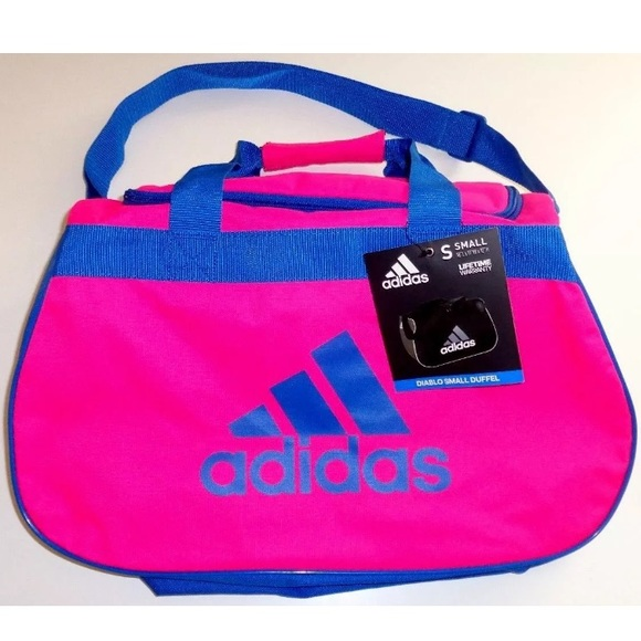 Adidas Diablo Small Hot Pink Blue Duffle 7d7e6cfd94920