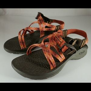 Chaco Shoes - Chaco Orange Double Strapped Brown Sandals 6