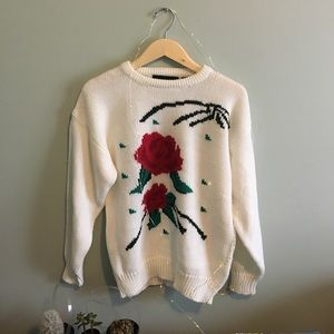 Vintage Off-White Knit Rose  Sweater 曆