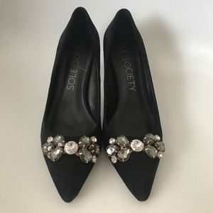 Sole Society Jeweled Suede Pumps