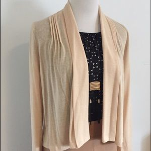 Tan Asymmetrical Open Cardi