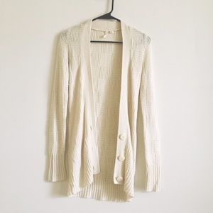Frenchi Sweaters - Cream light quilted cardigan