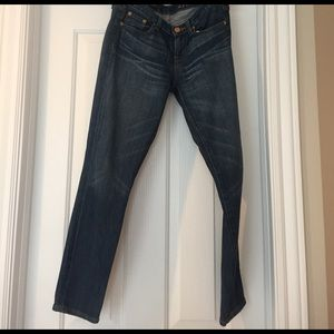 J. Crew ankle length toothpick jeans.