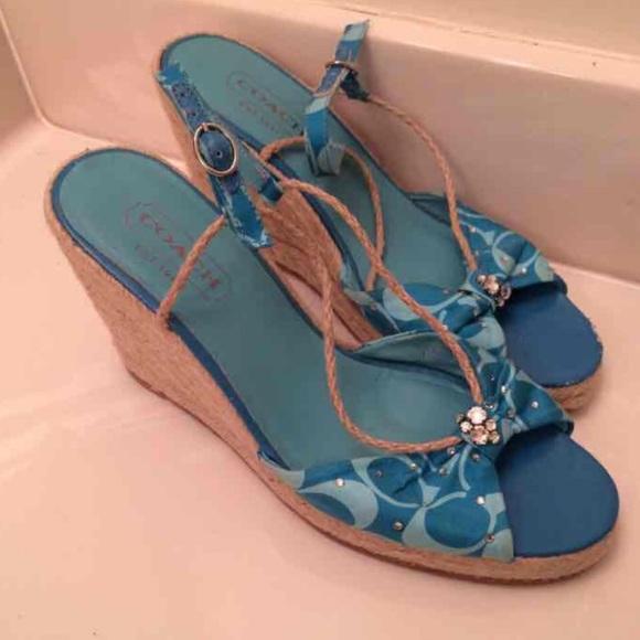 888dfbba7 Coach Shoes | Madison Aquarhinestone Espadrille Wedge Sz6 | Poshmark