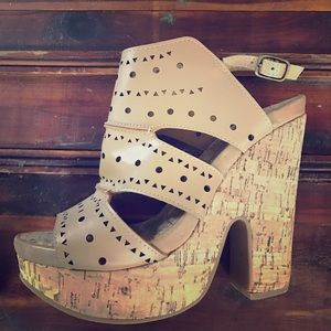 Two Lips Shoes - Two Lips tan wedges.  Size 9