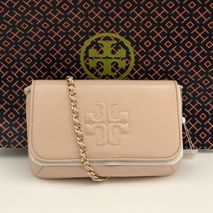 Tory Burch Handbags - TORY BURCH Charlie Patent Clutch Light Oak
