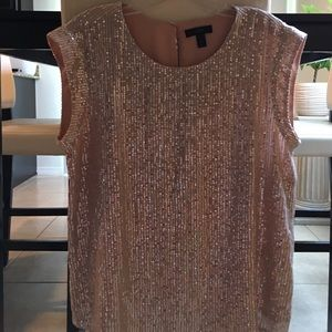 Jcrew light pink /beige sequined top