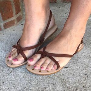 Qupid Shoes - Athena cognac knot sandals