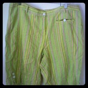 MG Woman Pants - Green Pink Striped Linen Blend Shorts 16