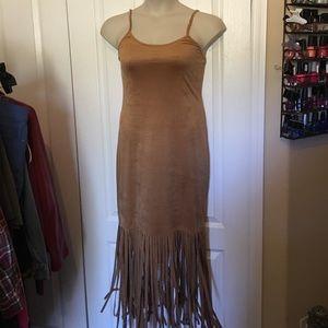 Faux suede fringe dress
