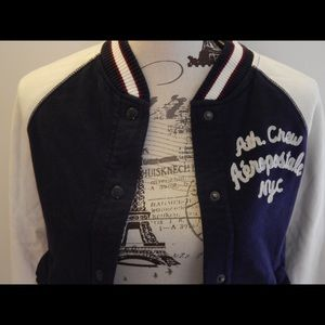 Aeropostale Jackets & Coats - Aeropostale Navy and White Varsity Jacket Sz S
