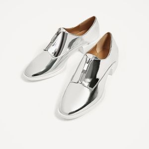 Flat Silver Shoes | Zara