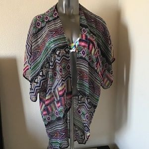 Love Squared Tops - Love Squared Open Front Print Cardigan/Cover-Up