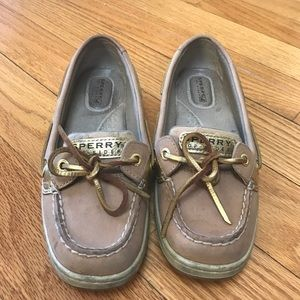 Sperry Brown and gold boat shoes