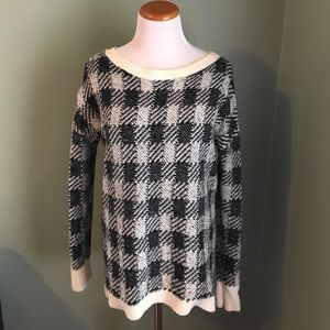 Express Black & White Checkered Sweater