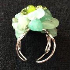 SOLD Multicolored Green Beaded Ring Adjustable