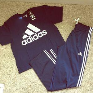 Men's Adidas navy 3stripe track pants and TShirt