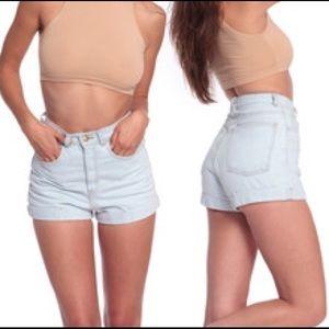 American Apparel Pants - Light wash high waisted shorts