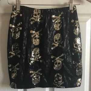 Hot & Delicious Crossbones Sequined Mini Skirt