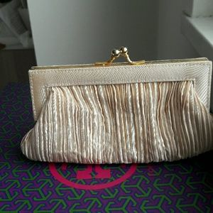 La Regale Handbags - Nude Satin pleated evening clutch, wedding season!