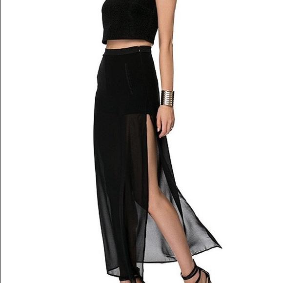 305b27fed H&M Skirts | Black Chiffon Maxi Skirt | Poshmark