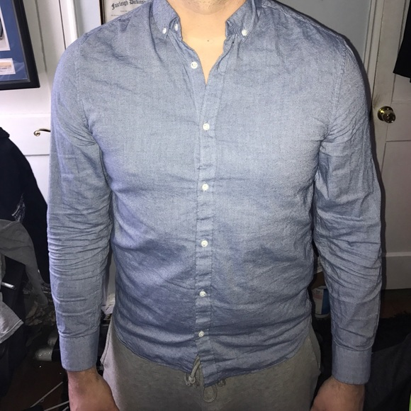7b951163f H&M Shirts | Hm Denim Long Sleeve Polo | Poshmark