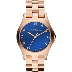 Marc Jacobs Henry Glossy Rose Gold Blue Dial Watch