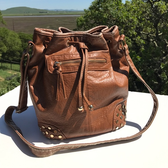 LD Handbags - LD Brown Drawstring Studded Handbag Purse