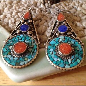 Vintage Jewelry - Vintage inlay turquoise lapis coral earring