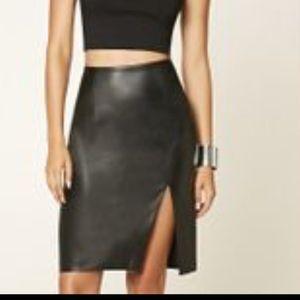 Forever 21 Dresses & Skirts - 🆕  Black Leather Skirt Knee-Length.