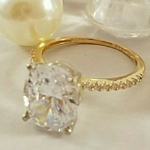 Jewelry - 14k Solid Gold 3ct Oval Engagement Ring