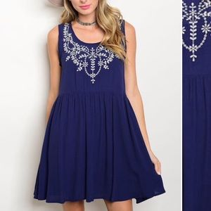 INA Dresses & Skirts - Navy/White Embroidered A-Line Dress