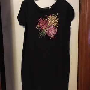 Bob Mackie Floral Embroidered Dress Size M Black
