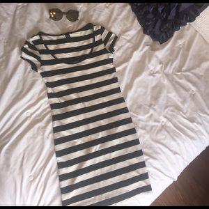 H&M black and white striped mini dress