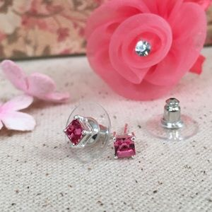 Pink Square Swarovski Crystal Sterling Earrings