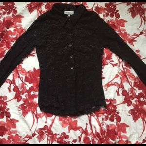 Harlow Tops - 3 for 9$! 💕🎉 Black Lace Button Up Shirt