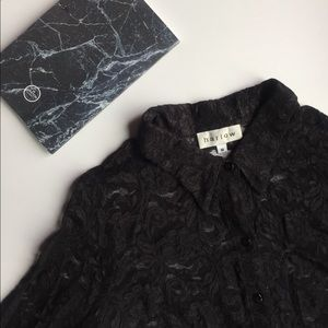 Harlow Tops - 💕🎉 Black Lace Button Up Shirt