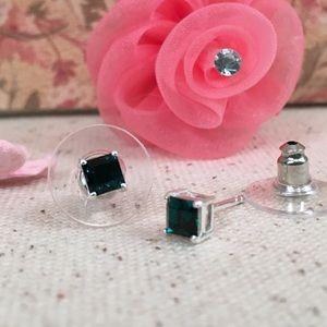 Kaki Jo's Closet Jewelry - Dark Green Square Swarovski Crystal SS Earrings.