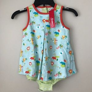 Zutano Other - NWT Zutano tunic with attached onesie zoo print