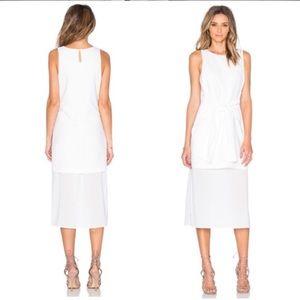 JOA tie front white sheer dress